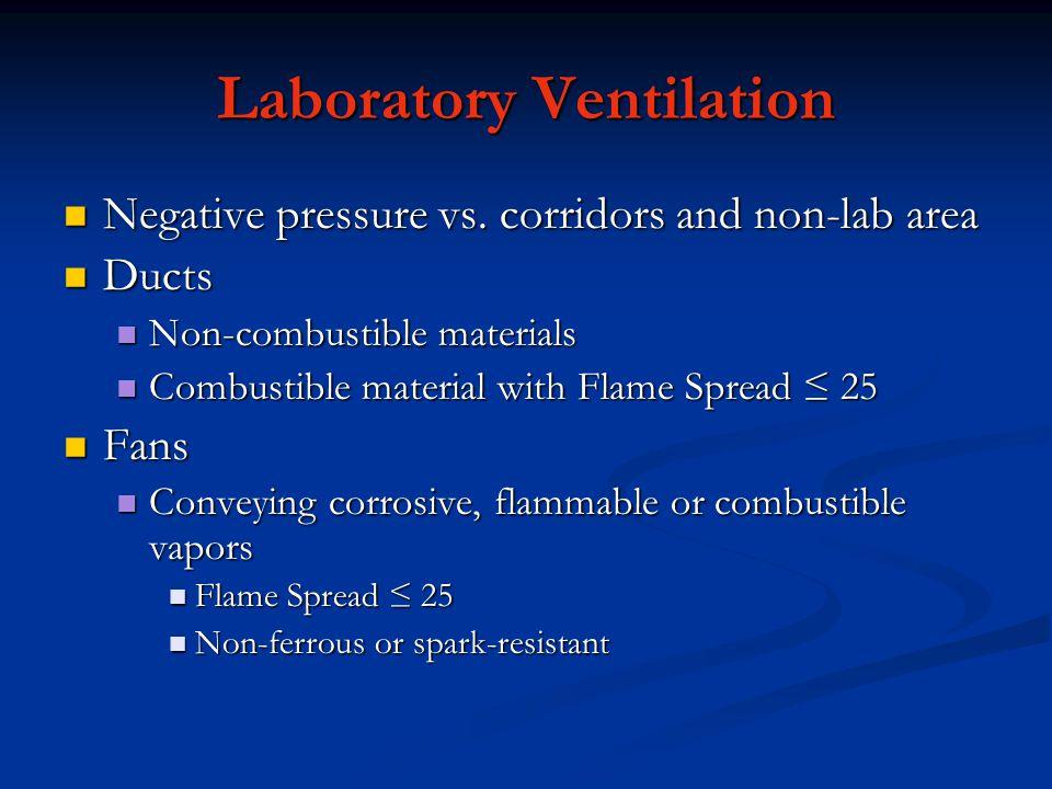 Laboratory Ventilation Negative pressure vs. corridors and non-lab area Negative pressure vs. corridors and non-lab area Ducts Ducts Non-combustible m
