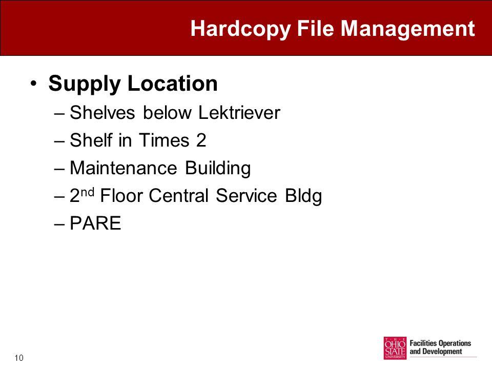 Hardcopy File Management Supply Location –Shelves below Lektriever –Shelf in Times 2 –Maintenance Building –2 nd Floor Central Service Bldg –PARE 10