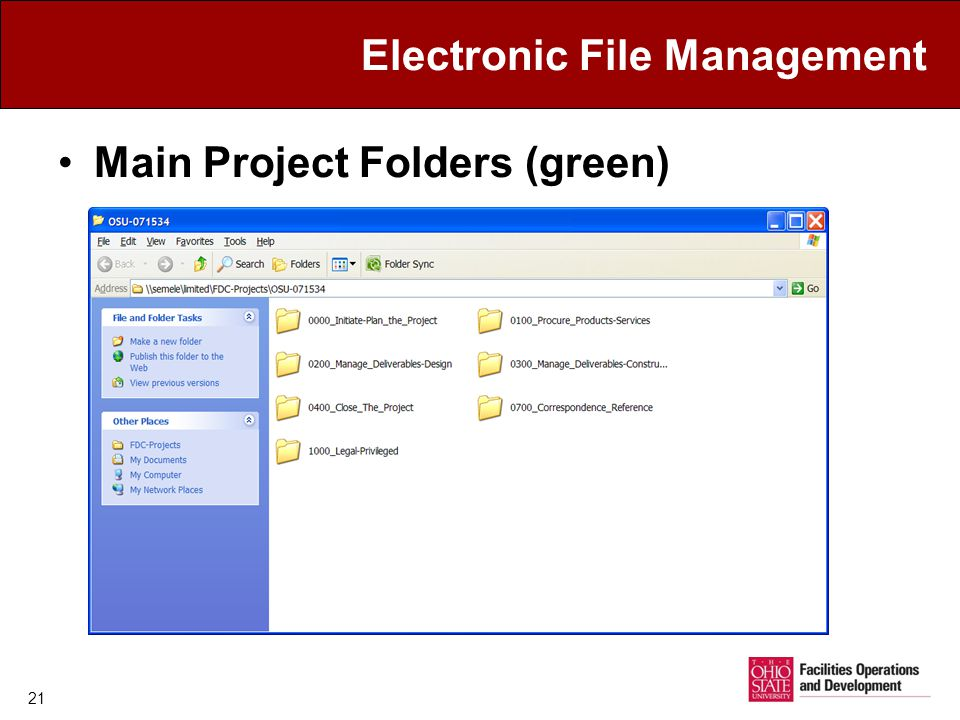 Electronic File Management Main Project Folders (green) 21