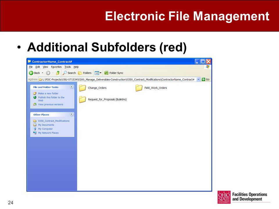 Electronic File Management Additional Subfolders (red) 24