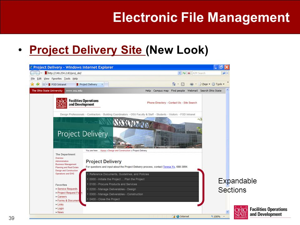Electronic File Management Project Delivery Site (New Look)Project Delivery Site 39 Expandable Sections
