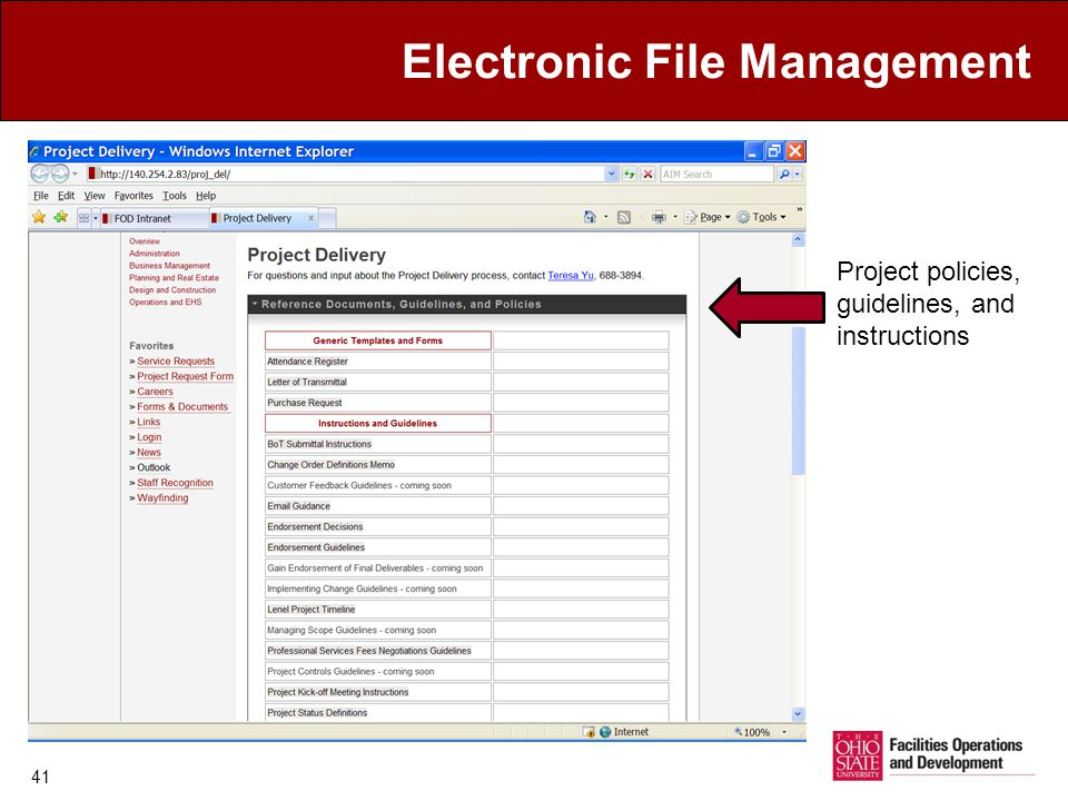 Electronic File Management 41 Project policies, guidelines, and instructions