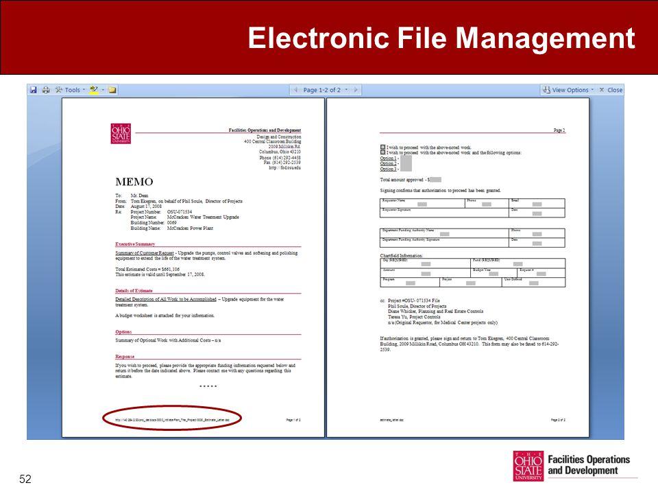 Electronic File Management 52