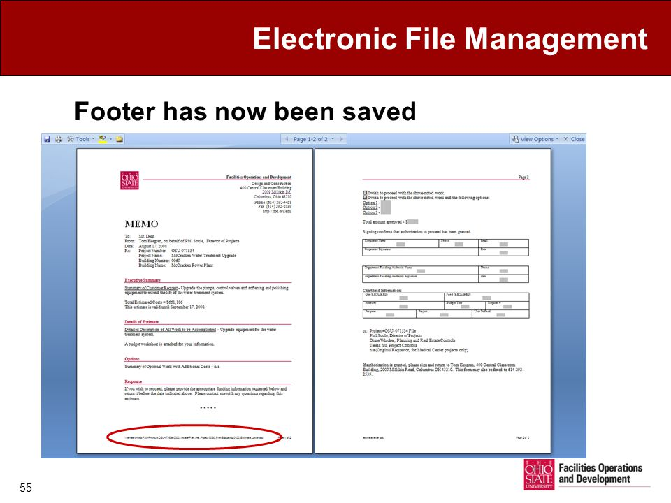 Electronic File Management Footer has now been saved 55