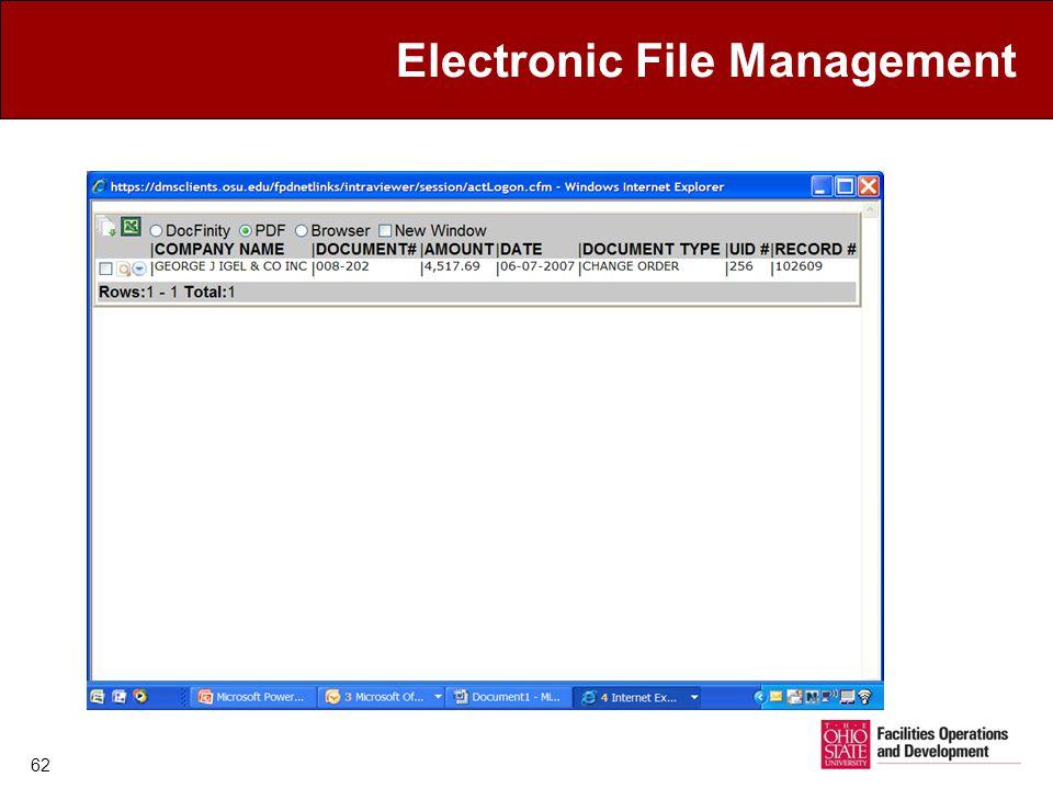 Electronic File Management 62