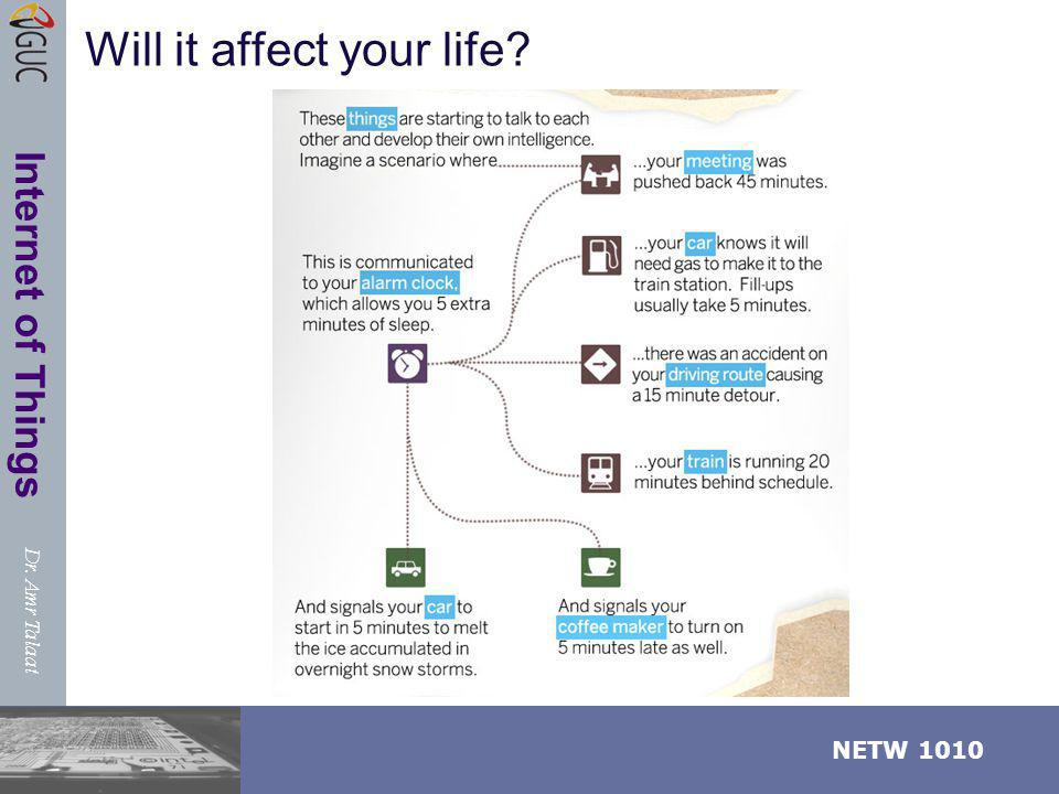 Dr. Amr Talaat NETW 1010 Internet of Things Will it affect your life?