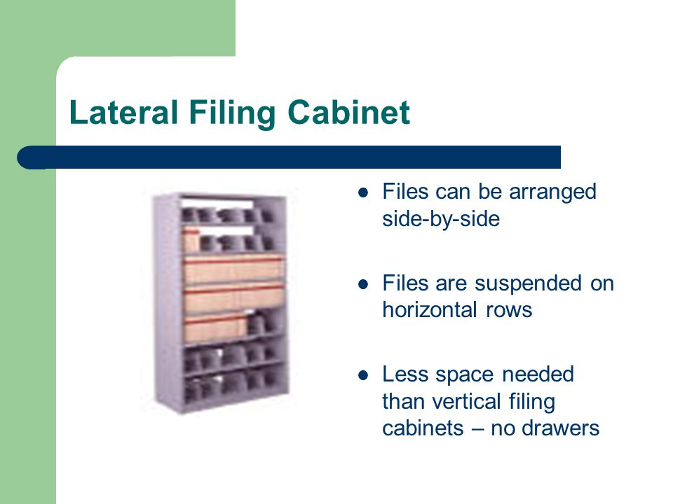 Lateral Filing Cabinet Files can be arranged side-by-side Files are suspended on horizontal rows Less space needed than vertical filing cabinets – no
