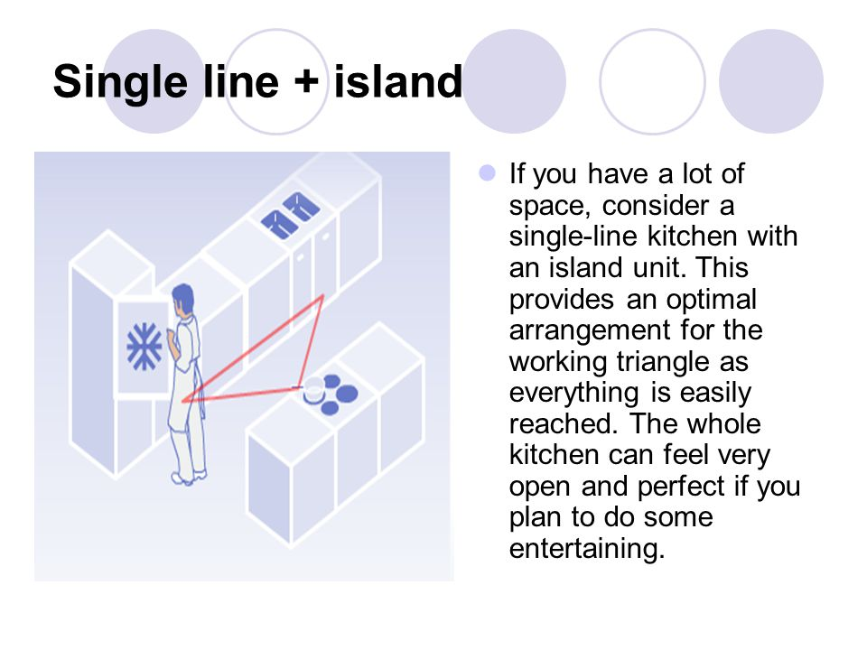 Single line + island If you have a lot of space, consider a single-line kitchen with an island unit. This provides an optimal arrangement for the work