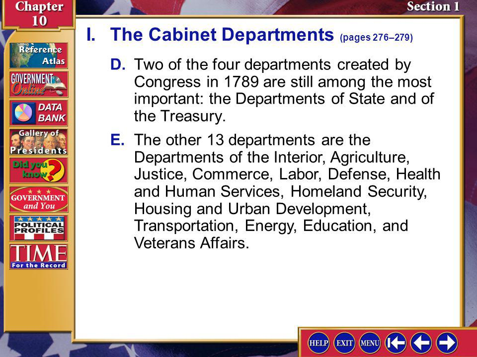 Section 1-3 I.The Cabinet Departments (pages 276–279)