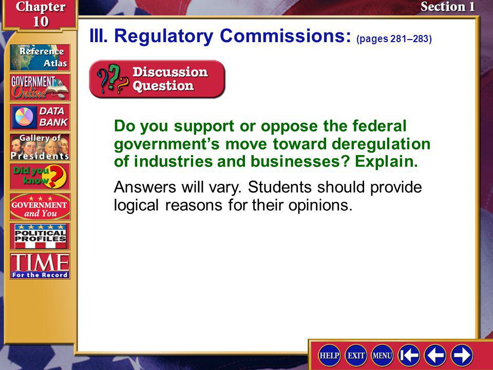 Section 1-11 III.Regulatory Commissions: (pages 281–283)