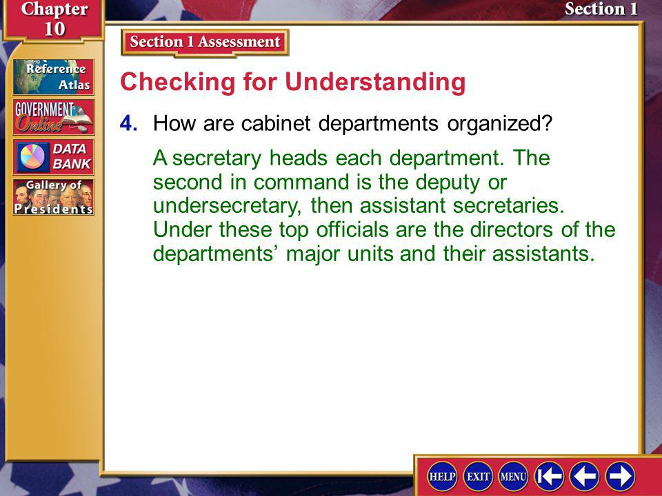 Section 1 Assessment-3 3.Identify Department of State, Department of the Treasury. Checking for Understanding The Department of State is responsible f