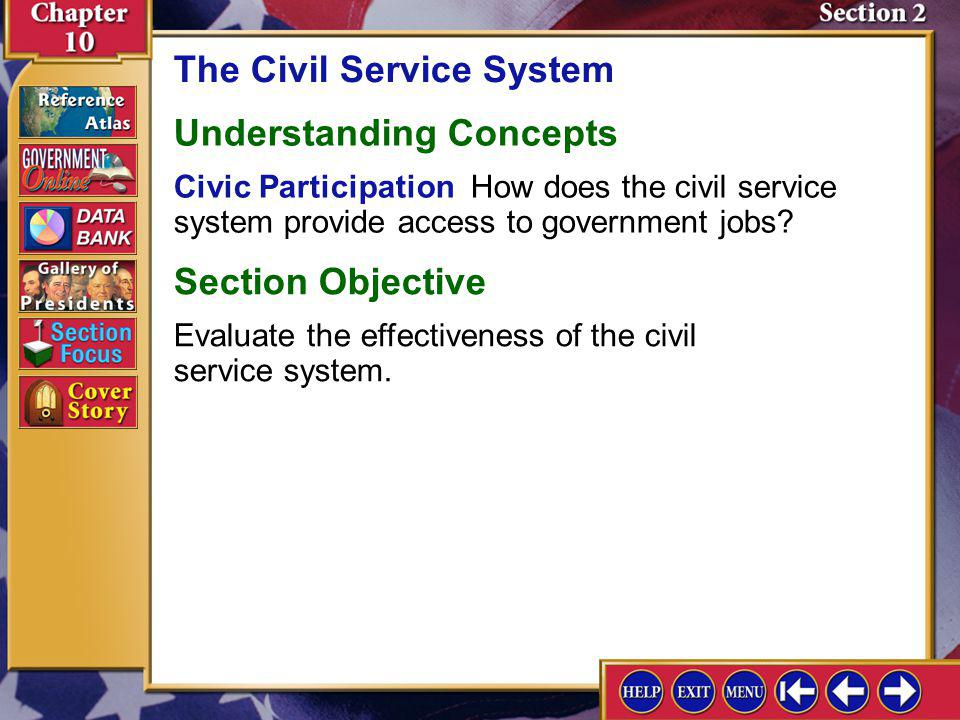 Section 2 Introduction-1 The Civil Service System Key Terms spoils system, civil service system Find Out What is the difference between a civil servan