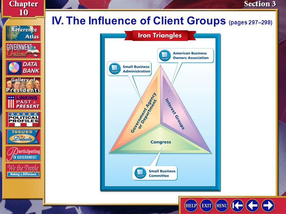Section 3-9 A.Federal agencies have client groups that try to influence decisions. IV.The Influence of Client Groups (pages 297–298) B.The close coope