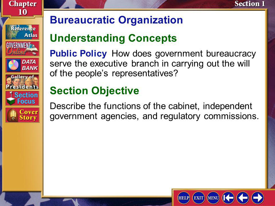 Section 1 Introduction-1 Bureaucratic Organization Key Terms bureaucrat, embassy, government corporation, deregulate, procurement Find Out How are ind