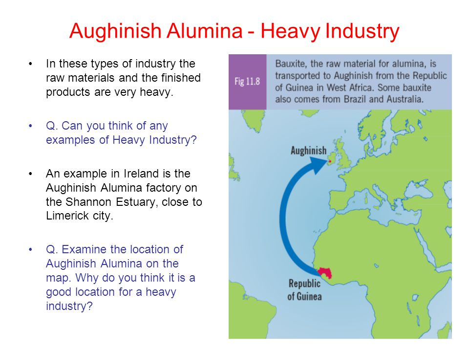Aughinish Alumina - Heavy Industry In these types of industry the raw materials and the finished products are very heavy. Q. Can you think of any exam