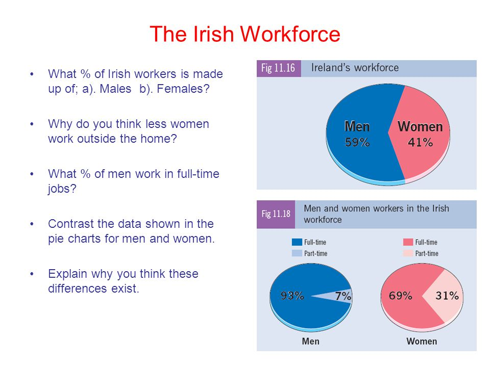 The Irish Workforce What % of Irish workers is made up of; a). Males b). Females? Why do you think less women work outside the home? What % of men wor