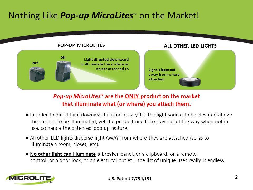 3 Pop-up MicroLites Hands-free miniature lighting device.