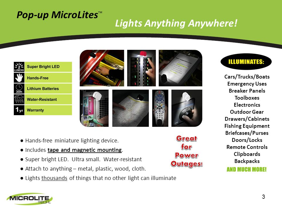 3 Pop-up MicroLites Hands-free miniature lighting device.