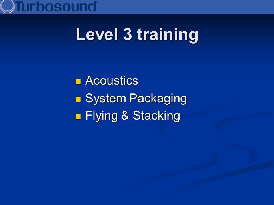 Level 3 training Acoustics Acoustics System Packaging System Packaging Flying & Stacking Flying & Stacking