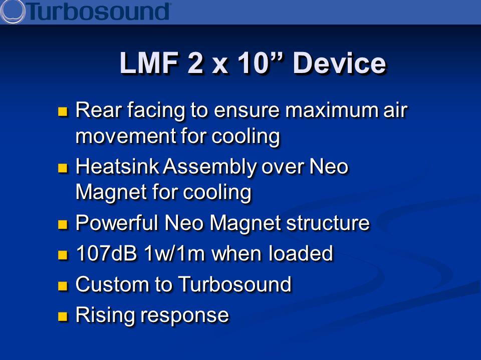 LMF 2 x 10 Device Rear facing to ensure maximum air movement for cooling Rear facing to ensure maximum air movement for cooling Heatsink Assembly over