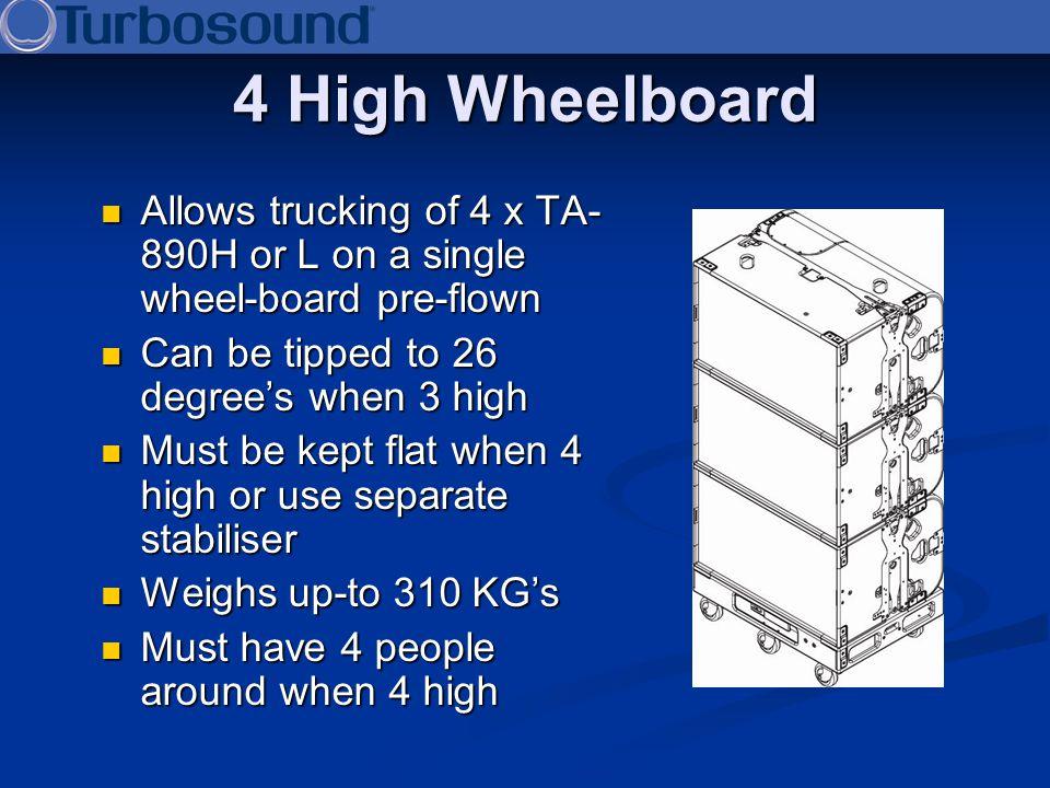 4 High Wheelboard Allows trucking of 4 x TA- 890H or L on a single wheel-board pre-flown Allows trucking of 4 x TA- 890H or L on a single wheel-board