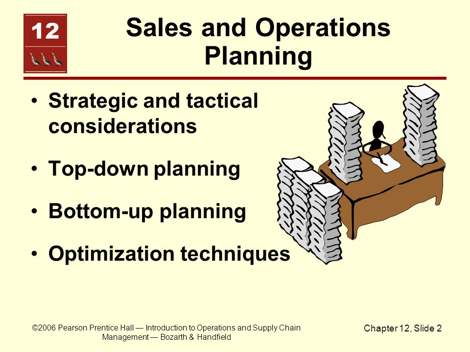 ©2006 Pearson Prentice Hall Introduction to Operations and Supply Chain Management Bozarth & Handfield Chapter 12, Slide 2 Sales and Operations Planni