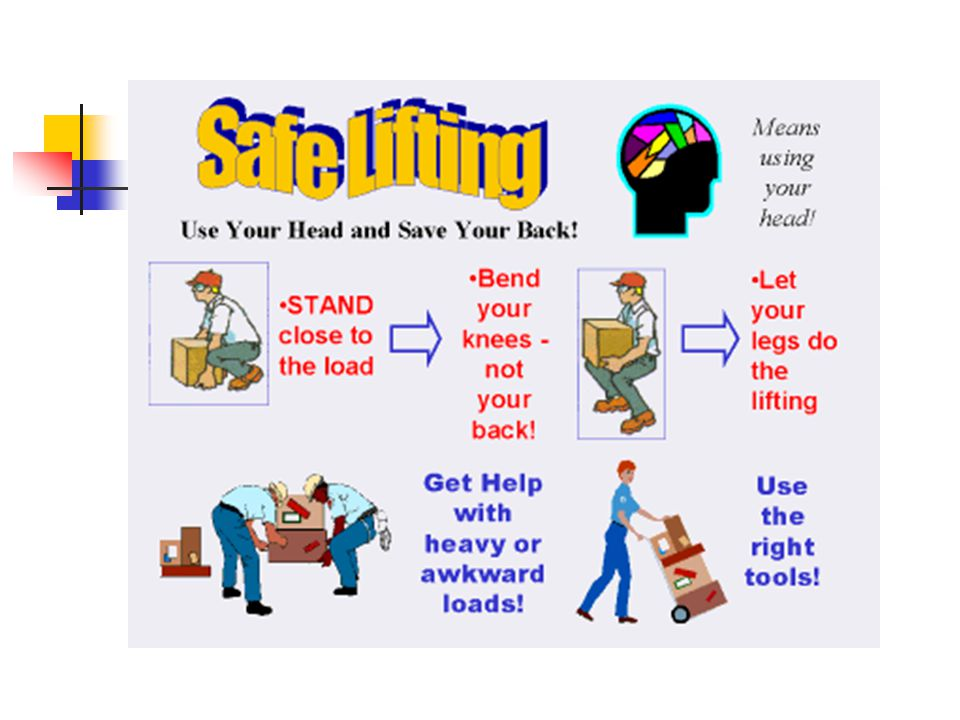 Back injuries occur frequently to avoid them, limit material handling to stable, moderate loads held close to the body at all times.
