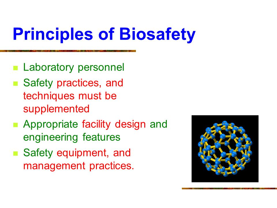 Principles of Biosafety Laboratory personnel Safety practices, and techniques must be supplemented Appropriate facility design and engineering feature