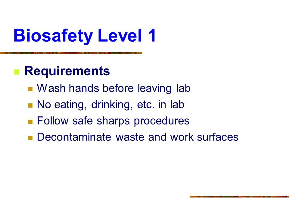 Biosafety Level 1 Requirements Wash hands before leaving lab No eating, drinking, etc. in lab Follow safe sharps procedures Decontaminate waste and wo