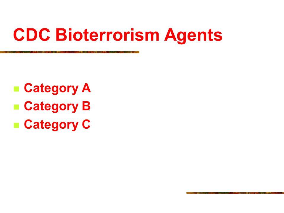 CDC Bioterrorism Agents Category A Category B Category C