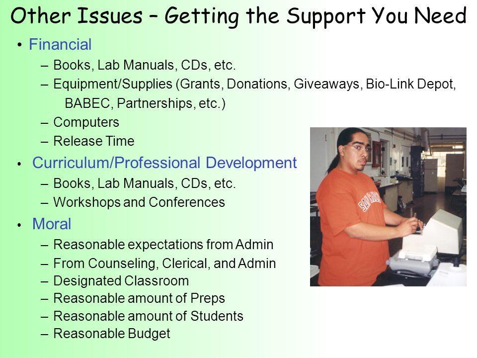 Other Issues – Getting the Support You Need Financial – Books, Lab Manuals, CDs, etc.