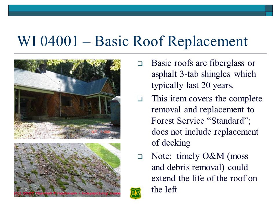 WI 04001 – Basic Roof Replacement Basic roofs are fiberglass or asphalt 3-tab shingles which typically last 20 years. This item covers the complete re
