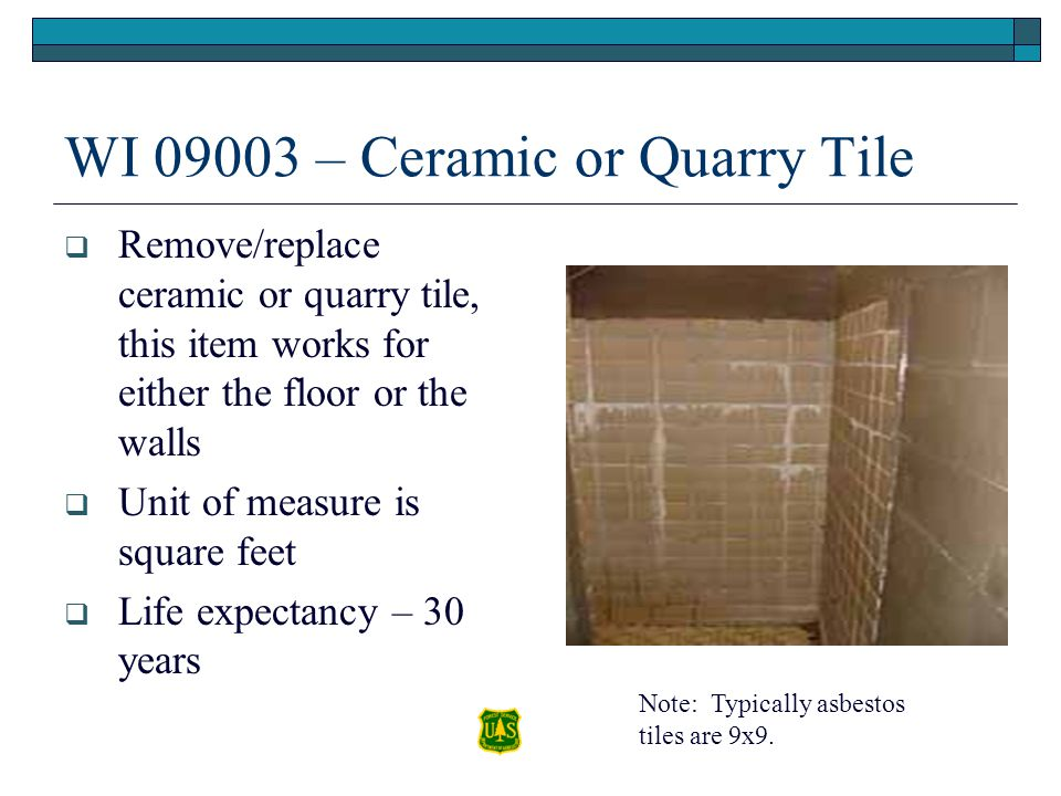 WI 09003 – Ceramic or Quarry Tile Remove/replace ceramic or quarry tile, this item works for either the floor or the walls Unit of measure is square f