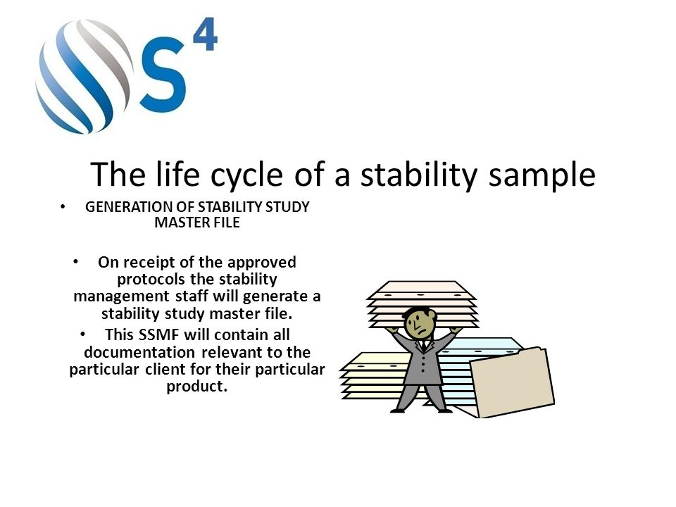 The life cycle of a stability sample GENERATION OF STABILITY STUDY MASTER FILE On receipt of the approved protocols the stability management staff wil