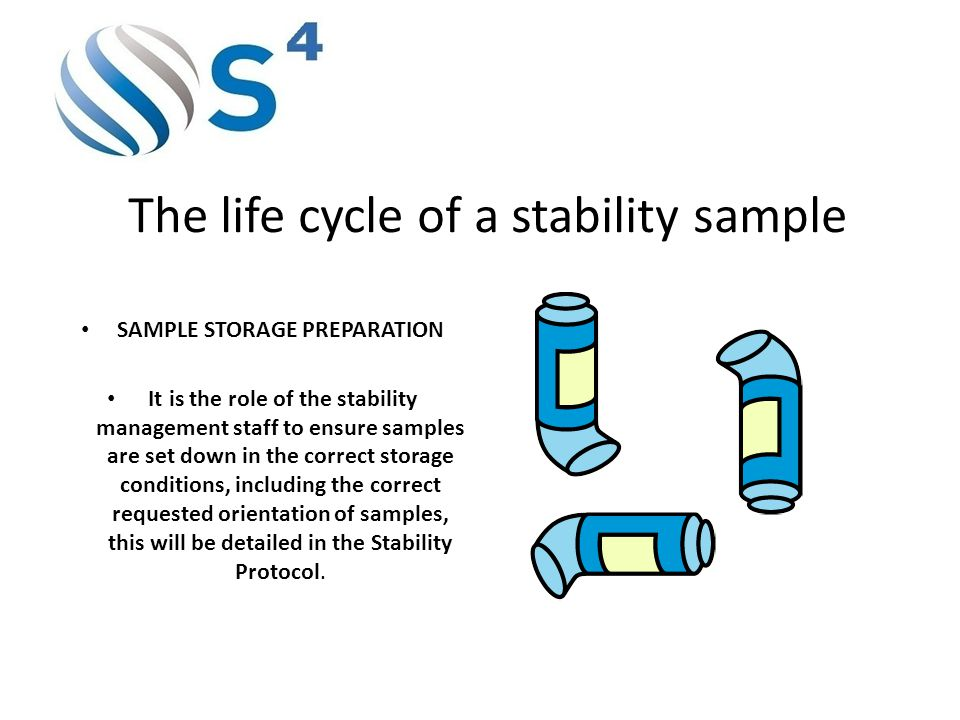 The life cycle of a stability sample SAMPLE STORAGE PREPARATION It is the role of the stability management staff to ensure samples are set down in the correct storage conditions, including the correct requested orientation of samples, this will be detailed in the Stability Protocol.