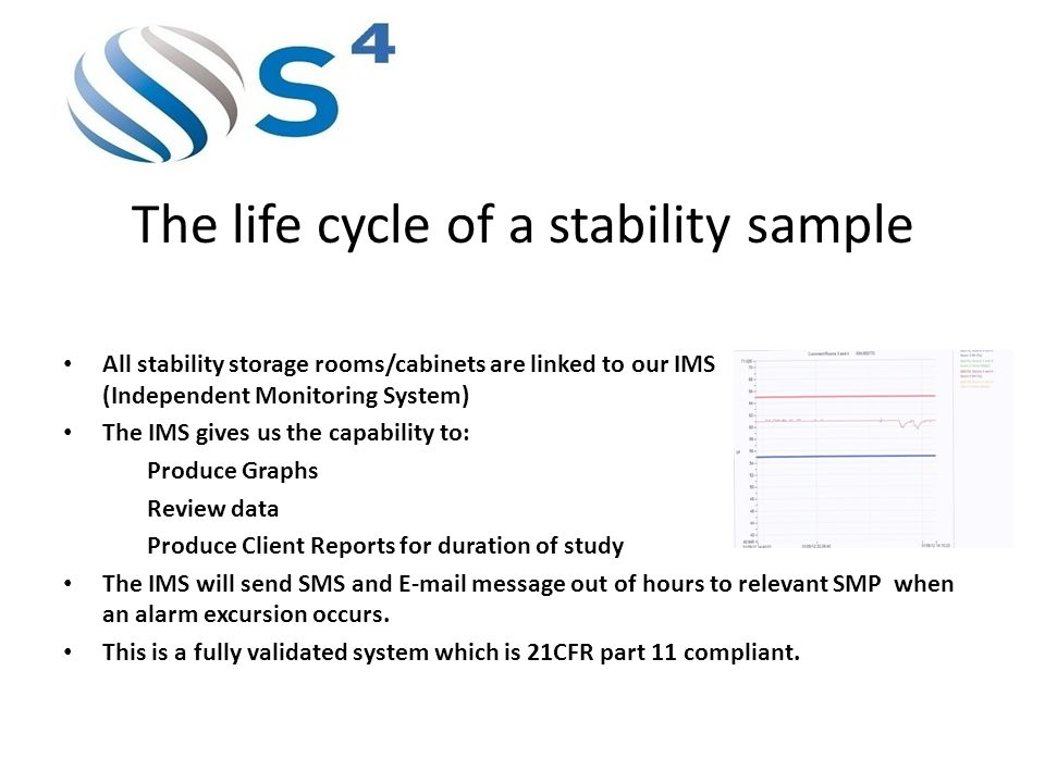 The life cycle of a stability sample All stability storage rooms/cabinets are linked to our IMS (Independent Monitoring System) The IMS gives us the capability to: Produce Graphs Review data Produce Client Reports for duration of study The IMS will send SMS and E-mail message out of hours to relevant SMP when an alarm excursion occurs.
