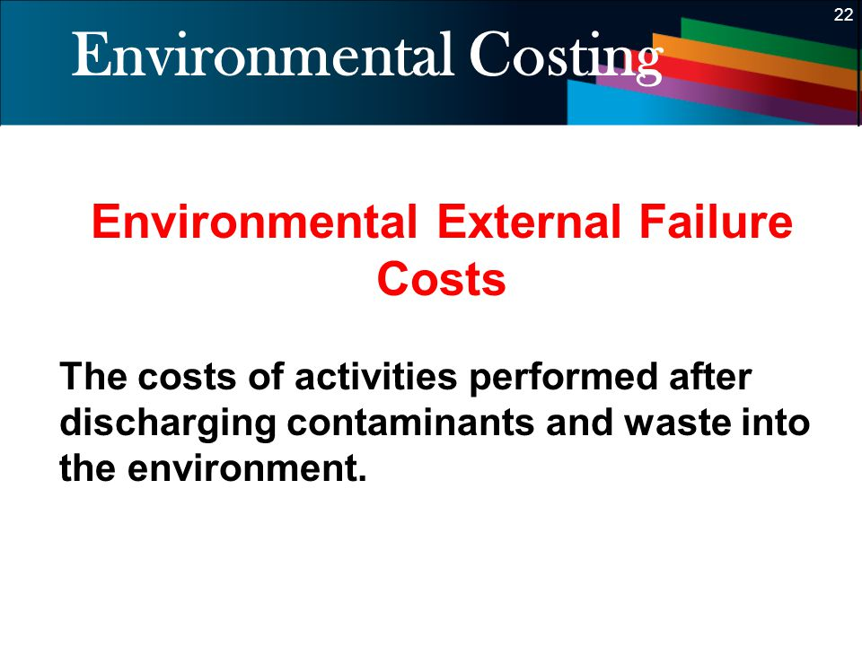 22 Environmental Costing Environmental External Failure Costs The costs of activities performed after discharging contaminants and waste into the envi