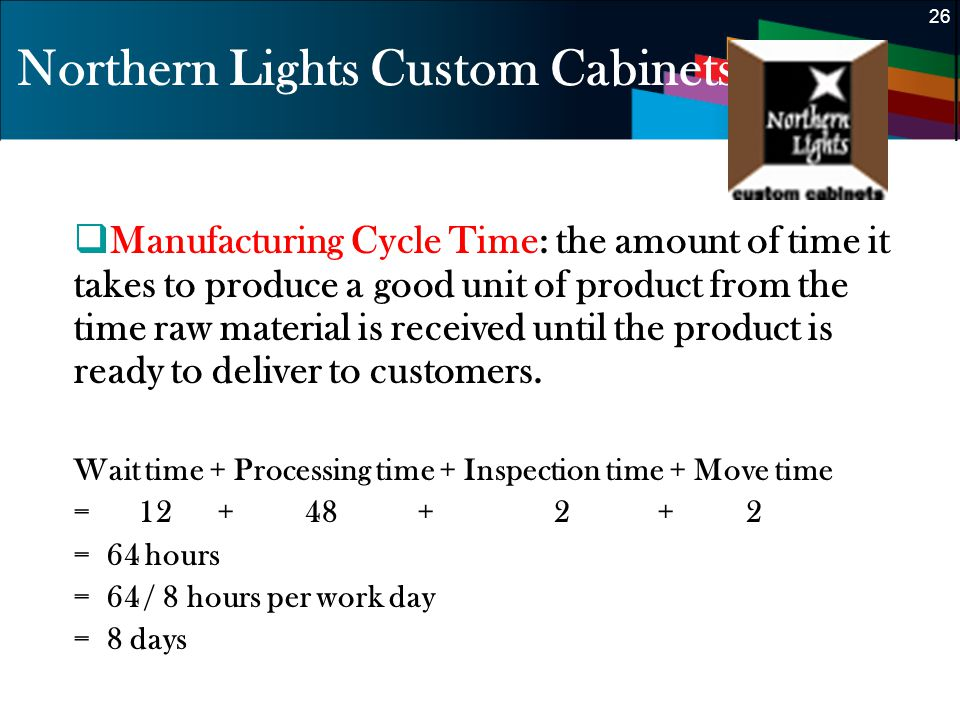 26 Northern Lights Custom Cabinets Manufacturing Cycle Time: the amount of time it takes to produce a good unit of product from the time raw material