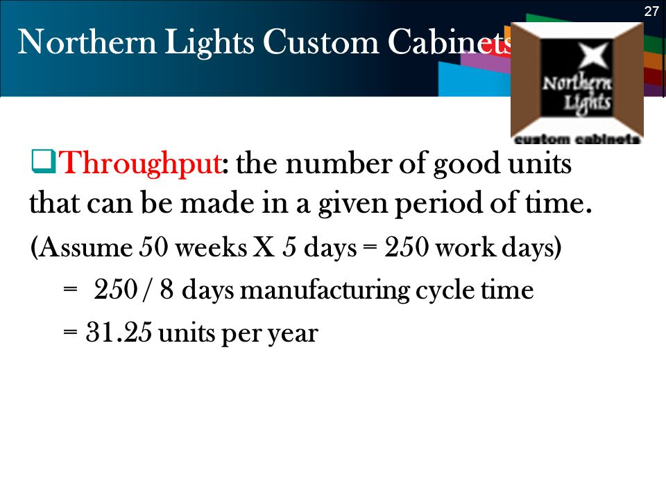 27 Northern Lights Custom Cabinets Throughput: the number of good units that can be made in a given period of time. (Assume 50 weeks X 5 days = 250 wo