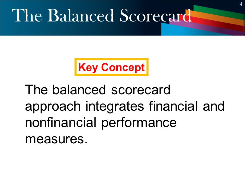 4 4 The Balanced Scorecard The balanced scorecard approach integrates financial and nonfinancial performance measures. Key Concept
