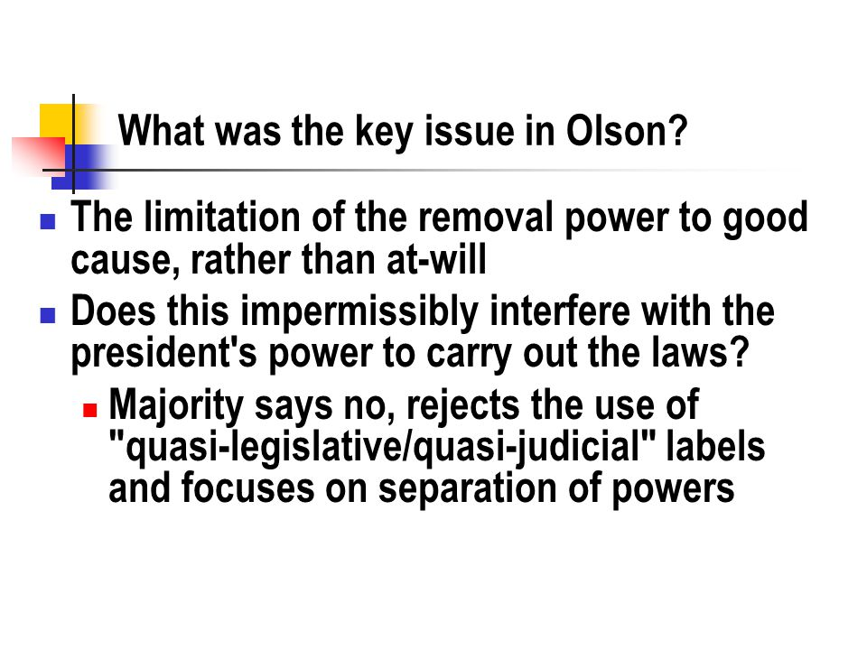 What was the key issue in Olson.