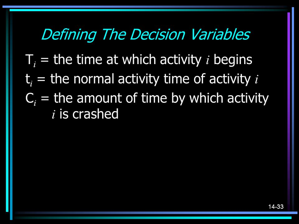 14-33 Defining The Decision Variables T i = the time at which activity i begins t i = the normal activity time of activity i C i = the amount of time