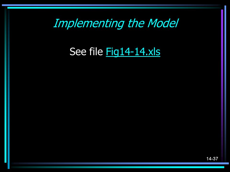 14-37 Implementing the Model See file Fig14-14.xlsFig14-14.xls
