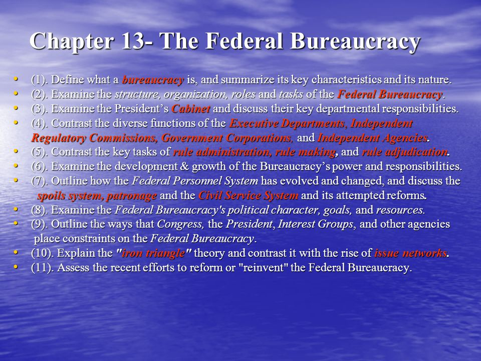 Political Character of the Federal Bureaucracy- The Reality: Reality: Inherently political institutions Reality: Inherently political institutions – Translate principles & goals=> concrete programs – Take board policies & laws => detailed regulations – Range of Discretion => and conflicting guidance – President vs.