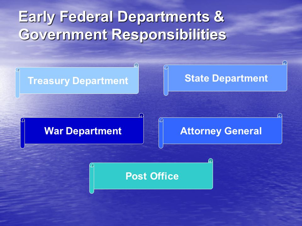 Treasury Department War Department State Department Attorney General Post Office Early Federal Departments & Government Responsibilities