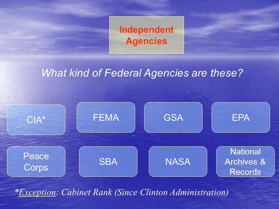 EPAFEMAGSA NASA Peace Corps SBA CIA* National Archives & Records Independent Agencies What kind of Federal Agencies are these? *Exception: Cabinet Ran