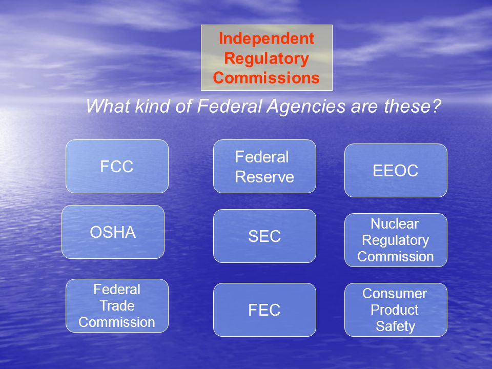 FCC Federal Reserve SEC FEC OSHA EEOC Nuclear Regulatory Commission Consumer Product Safety Independent Regulatory Commissions Federal Trade Commissio
