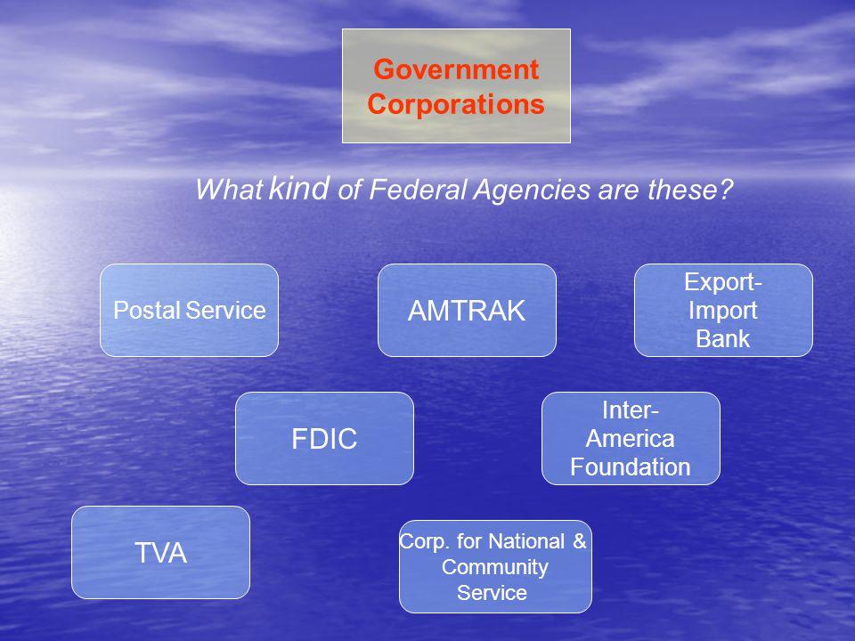 Federal Departments & Agencies (summary)