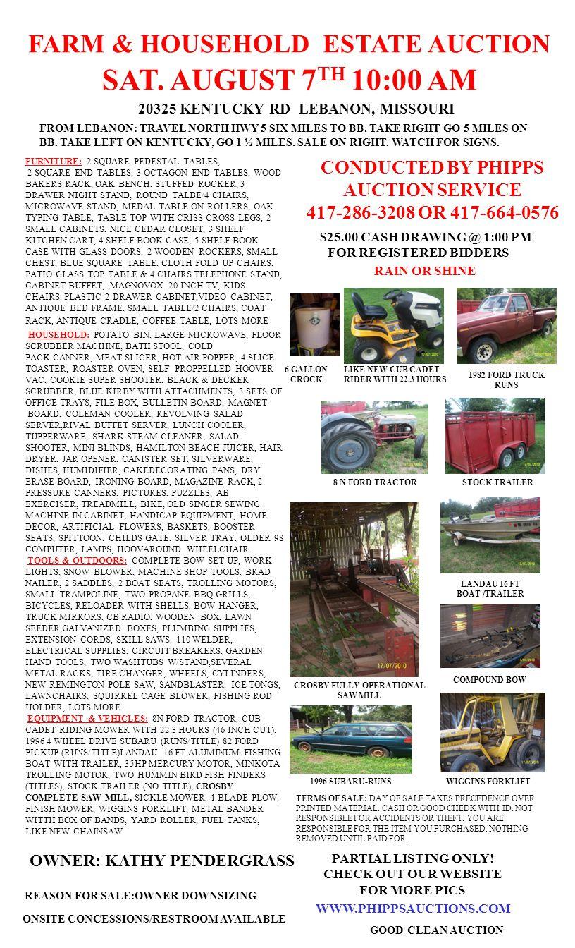 FARM & HOUSEHOLD ESTATE AUCTION SAT.