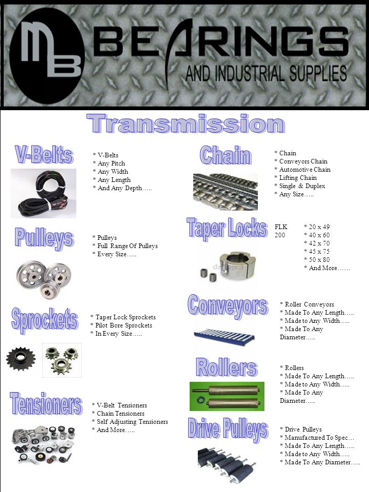 * V-Belt Tensioners * Chain Tensioners * Self Adjusting Tensioners * And More…..